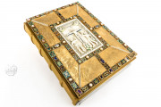 Codex Aureus of Echternach, Nuremberg, Germanisches Nationalmuseum, Hs. 156142, The Luxury Edition reproduces the 10th century original binding featuring the ivory crucifixion scene framed by gems and enamel decoration